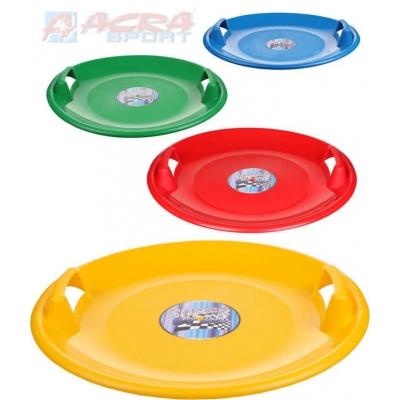 ACRA Sáňkovací talíř SUPERSTAR 60cm s držadly 4 barvy plast
