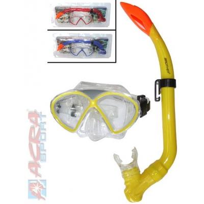 ACRA Sada potápěčská s brýlemi a šnorchlem Červená