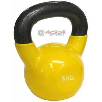 ACRA Činka jednoruční Kettlebell vinylový potah 6 kg žlutá