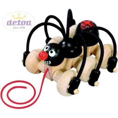 DETOA DŘEVO Pavouk černý tahací 11cm dětské tahadlo na kolečkách