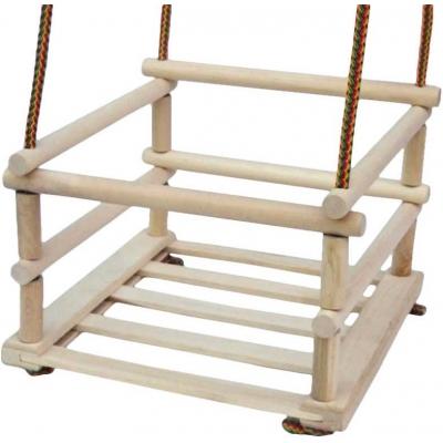 DŘEVO Houpačka natur dětská dřevěná 34x33cm závěsná se zábranou
