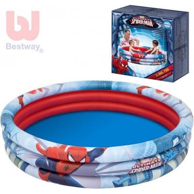 BESTWAY Bazén dětský nafukovací Spiderman kulatý 152cm 3 prstence 98006