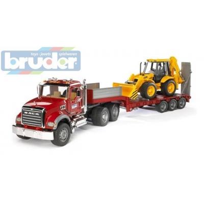 BRUDER 02813 (2813) Nákladní auto MACK Granit - návěs + traktor JCB