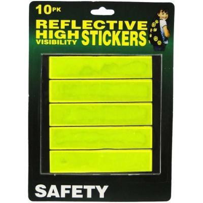 Samolepka žlutá reflexní 12cm bezpečnostní odrazka set 10ks na kartě