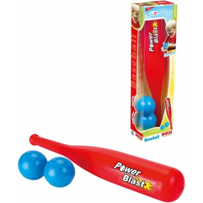 DOLU Set baseballový pálka plastová červená + míček 2ks malý baseballista