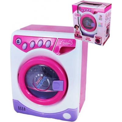 Pračka plastová dětská otevírací dvířka růžovofialová Zvuk