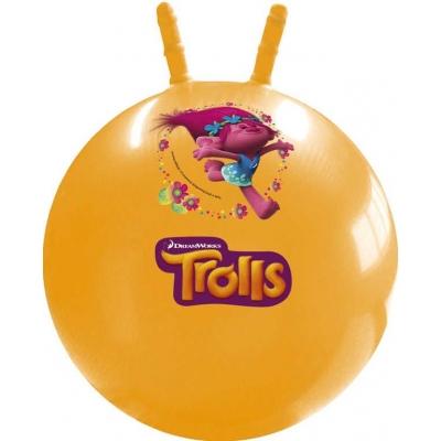 Míč skákací Trollové 50cm žlutý s obrázkem dětské hopsadlo s držadly