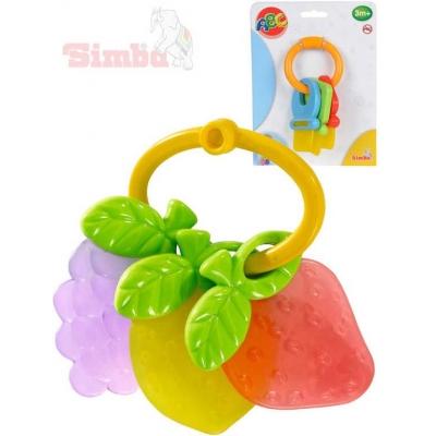 SIMBA Baby kousátko klíče/ovoce plastové 2 druhy pro miminko na kartě