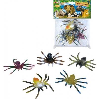 Pavouk plastový 8cm set 5ks v sáčku různé barvy