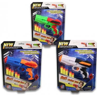 Pistole dětská 18cm set se soft pěnovými náboji 5ks 3 barvy na kartě