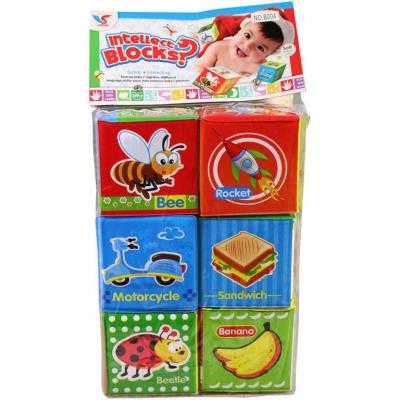 Soft baby kostky plastové 7cm s obrázky set 6ks pro miminko v sáčku