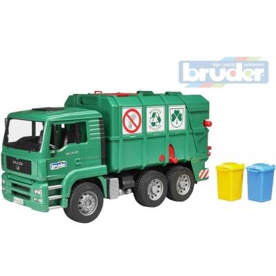 BRUDER 02753 (2753) Set auto nákladní zelené MAN TGS popeláři + 2 popelnice plast