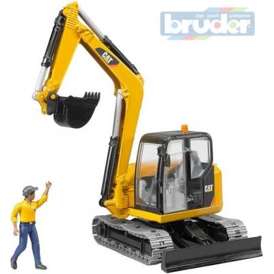 BRUDER 02466 (2466) Minibagr Caterpillar pásový funkční model 1:16 s figurkou plast