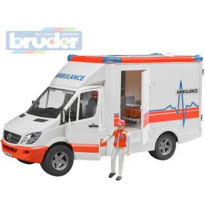 BRUDER 02536 (2536) Auto sanitka Mercedes Benz Sprinter set s figurkou model 1:16