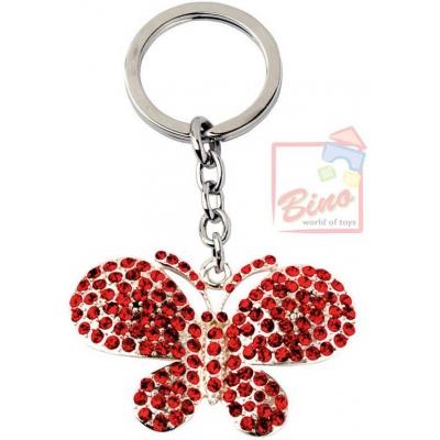 BINO Přívěsek zdobený s drahokamy motýl červený 10cm na klíče kov v sáčku