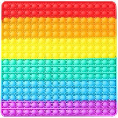 Hra Pop It antistresová Bubble Pops Gigant 30cm XXL 256 bublin silikon čtverec duhový