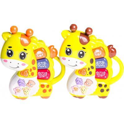 Baby pianko žirafka dětské klávesy na baterie Světlo Zvuk 2 barvy