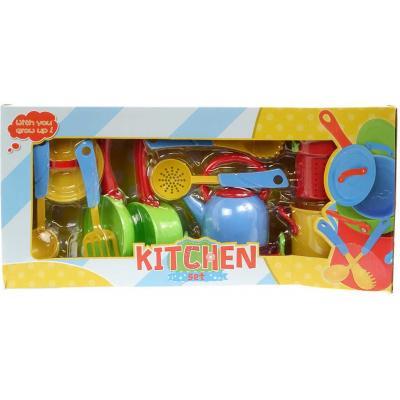 Dětské barevné nádobí plastové set s kuchyňskými nástroji v krabici