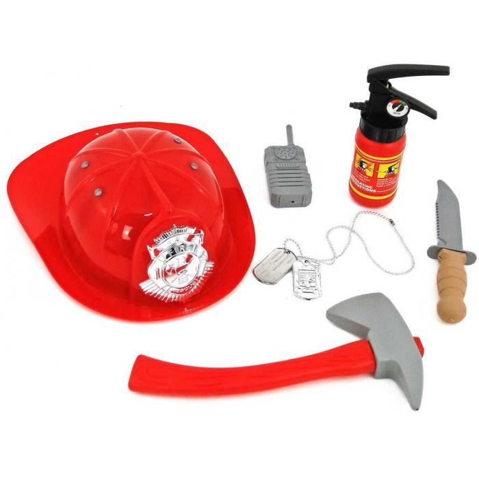 Malý hasič souprava s přilbou a hasicím přístrojem 6ks plast