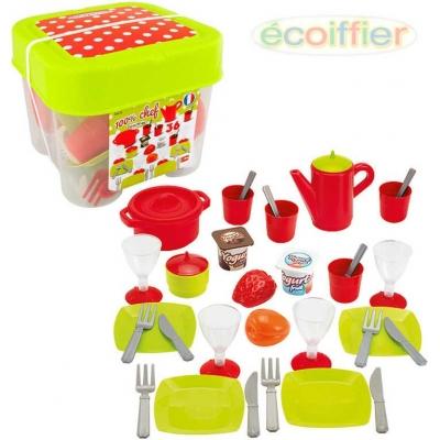 ECOIFFIER Set dětský jídelní plastové nádobí s potravinami 36ks v boxu
