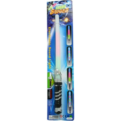 Meč světelný plastový 47cm na baterie na kartě Světlo Zvuk