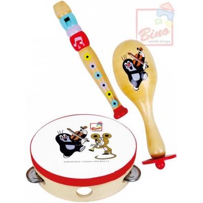 BINO DŘEVO Sada hudební nástroje 3ks KRTEK (Krteček) flétna rumbakoule tamburina