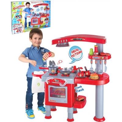 Kuchyňka dětská 81x33x83cm funkční set s nádobím a potravinami plast