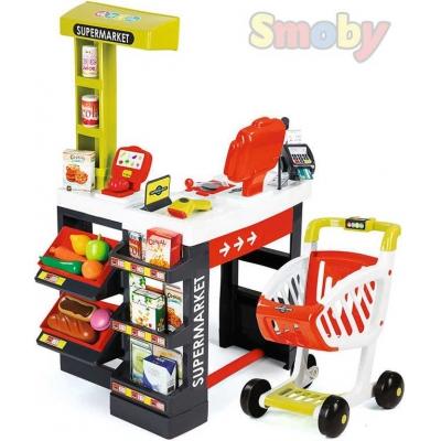 SMOBY Supermarket červeno-zelený dětský obchod velký herní set na baterie Světlo Zvuk