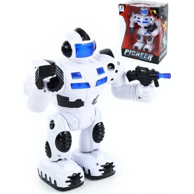 Robot bílý 25cm chodící na baterie se zbraní Světlo Zvuk plast