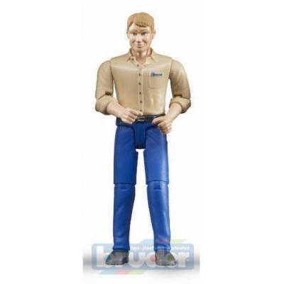 BRUDER 60006 Figurka muž modré kalhoty světle-hnědá košile