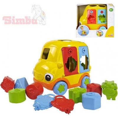 SIMBA Baby autíčko 20cm dětská vkládačka plastová set 8 kostek + 2 klíče