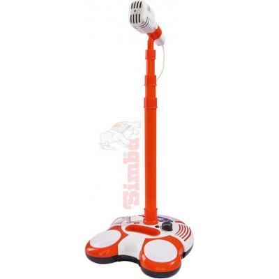 SIMBA Mikrofon dětský se stojanem mp3 vstup na baterie Světlo Zvuk plast