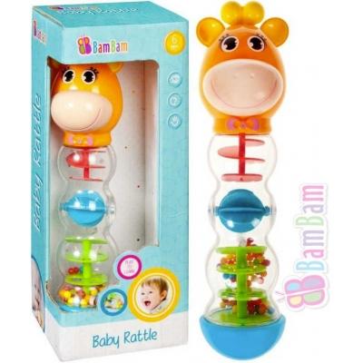 BAM BAM Baby chrastítko kuličkové žirafa s bludištěm pro miminko plast