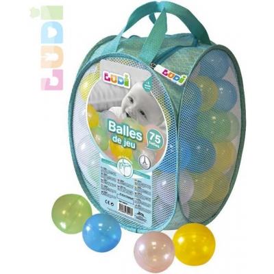 LUDI Baby míčky měkké plastové set 75ks transparentní 6,5cm v tašce pro miminko