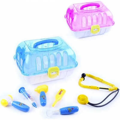 Domeček přenosný pro zvířátko set malý veterinář s doplňky 2 barvy plast