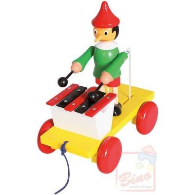 BINO DŘEVO Tahací Pinocchio xylofon * DŘEVĚNÉ HRAČKY *