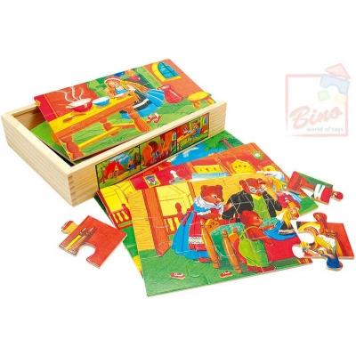 BINO DŘEVO Puzzle 4v1 v krabičce pohádka *DŘEVĚNÉ HRAČKY*