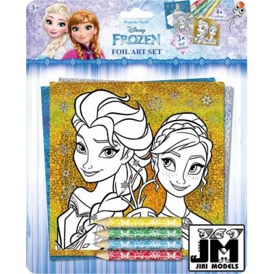 JIRI MODELS Obrázky foliové k vybarevní + 4 pastelky Frozen (Ledové Království)