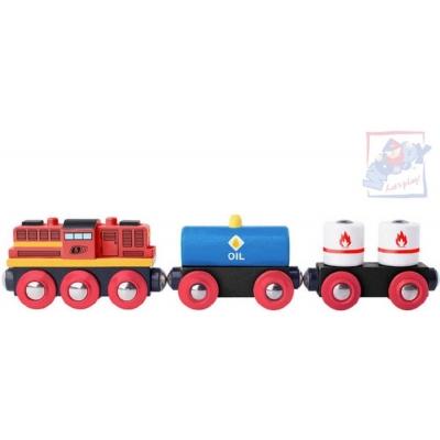 WOODY DŘEVO Vlakový set lokomotiva diesel + vagon 2ks *DŘEVĚNÉ HRAČKY*