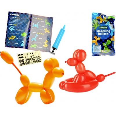 Balónky modelovací na tvoření zvířátek set 12ks s pumpou a samolepkami v sáčku