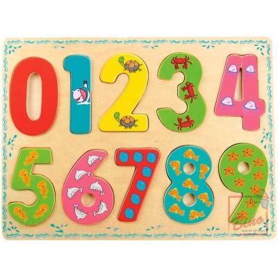 BINO DŘEVO Puzzle vkládací číslice * DŘEVĚNÉ HRAČKY *