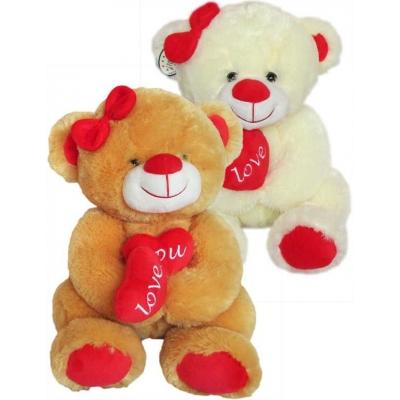 PLYŠ Medvědice se srdíčky 35cm I Love You 2 barvy *PLYŠOVÉ HRAČKY*