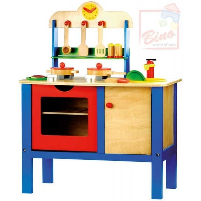 BINO DŘEVO Dřevěná DĚTSKÁ KUCHYŇKA s nádobím a doplňky
