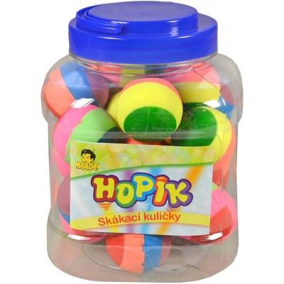 Hopík duhový skákací míček pruhovaný 4cm hopskulička různé druhy plast