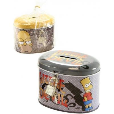Pokladnička kovová dětská kasička Simpsonovi set s klíčky a zámkem 2 druhy