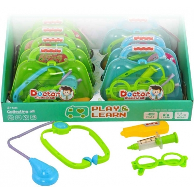 Set doktorský zeleno-modrý dětské lékařské potřeby v kufříku 2 barvy plast