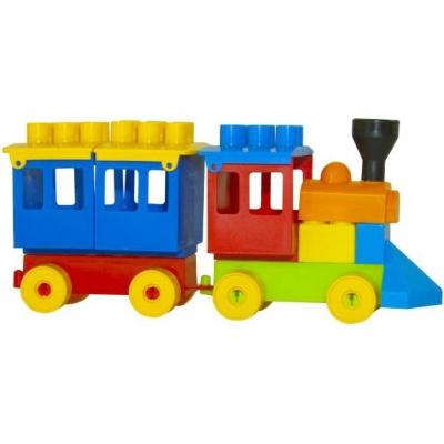 PL Baby stavebnice vláček mašinka + vagonek kostky pro miminko plast