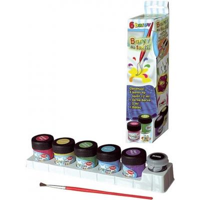 Barvy světlé na textil 6ks kreativní set se štětcem 65ml v krabičce