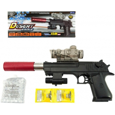 Pistole Desert Eagle 33cm na vodní kuličky a náboje na baterie Světlo