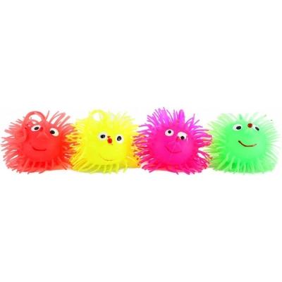 Míček měkký ježek střapatý 8cm guma 4 barvy Světlo